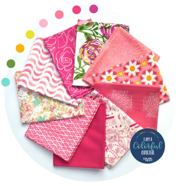 pink fabric bundle for quilters, fabric from Art Gallery Fabrics sold by Color Girl quilts