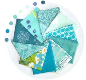 Teal fabric prints, stash builder fabric bundle, Art Gallery Fabrics, sold by Color Girl Quilts