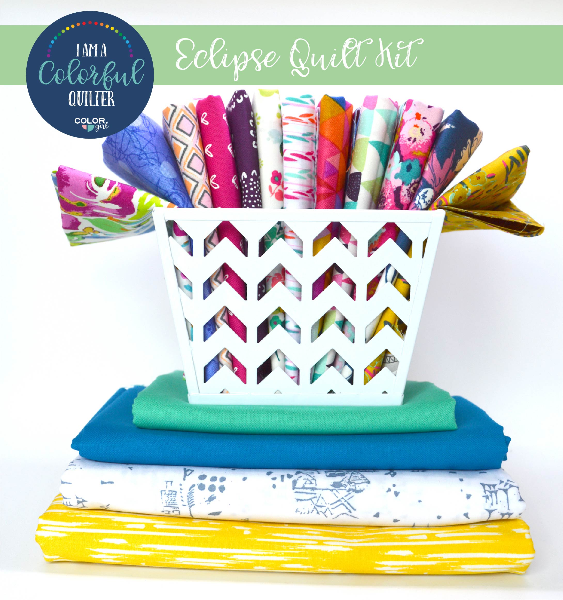 Eclipse quilt kit sold by Color Girl Quilts, uses the Classic Curves Ruler