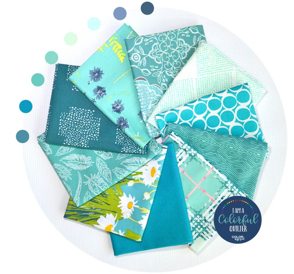 turquoise fabric bundle, stash builder Art Gallery Fabrics, quilt fabric sold by Color Girl Quilts