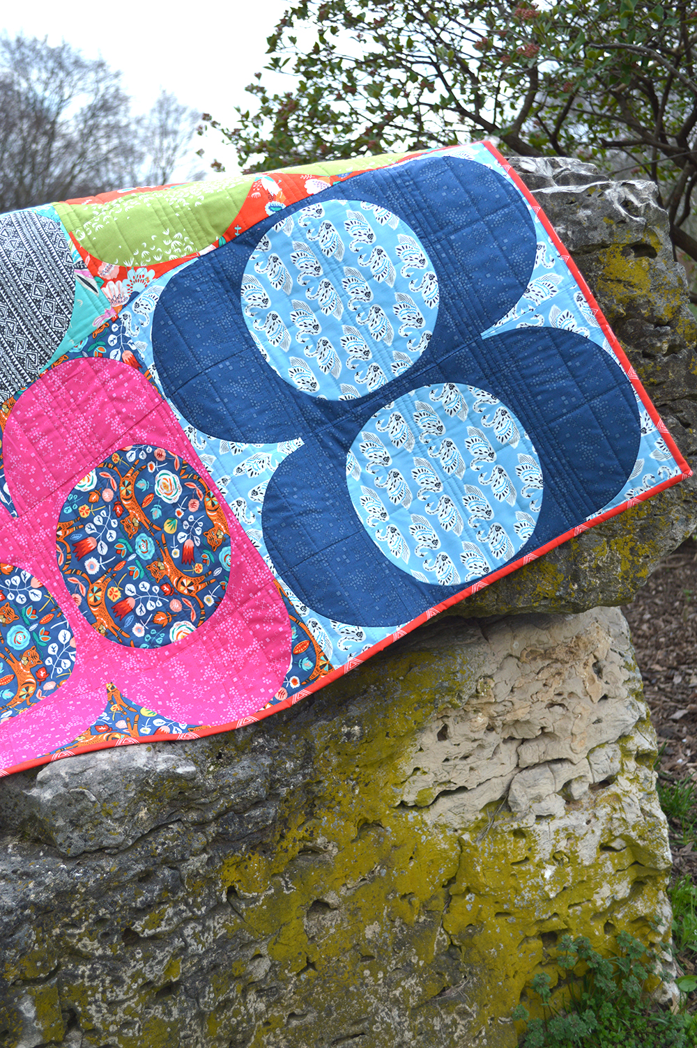 Talin fabrics by Art Gallery Fabrics, quilt with curved piecing by Sharon McConnell Color Girl quilts