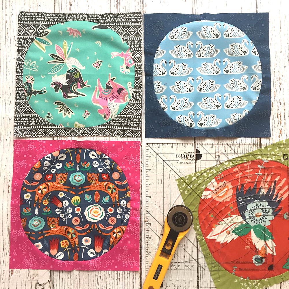 Tallinn fabrics pieced circle quilt blocks. tutorial by Color Girl Quilts