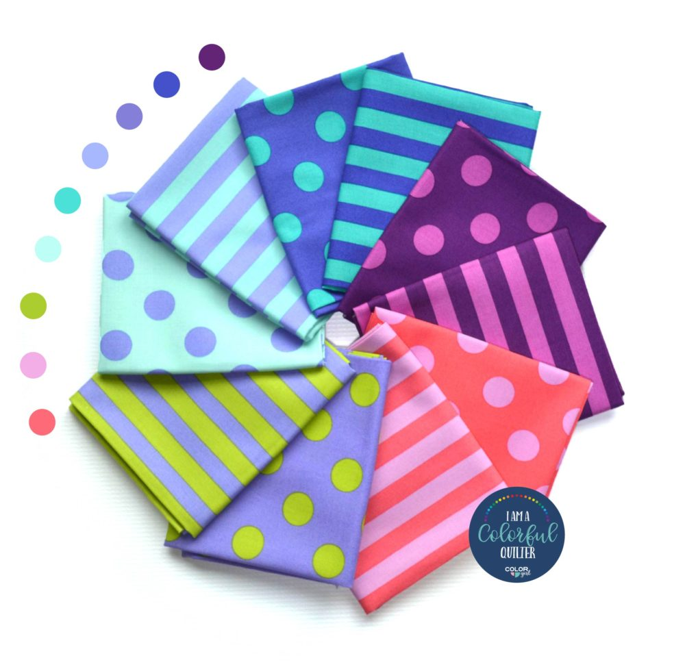 Tula Pink dots and stripes fabric bundles for quilter sold by Color Girl quilts