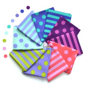 Tula Pink dots and stripes fabrics bundle for sale at Color Girl Quilts. Pom Pom and Tent Stripe fabric prints