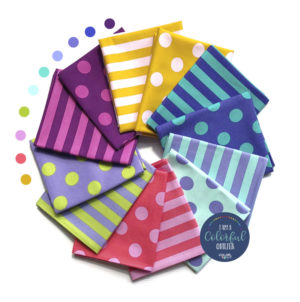 Tula Pink dots and stripes fabric bundle sold by Color Girl quilts