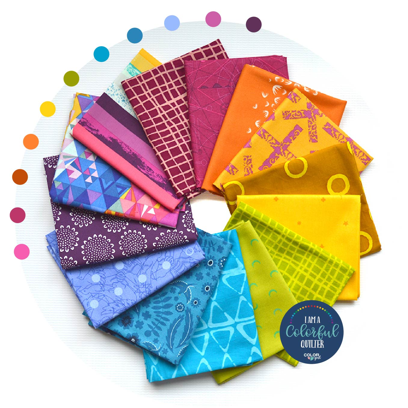 Rainbow fabric bundles for quilters, specialty sewing fabric sold by Color girl Quilts