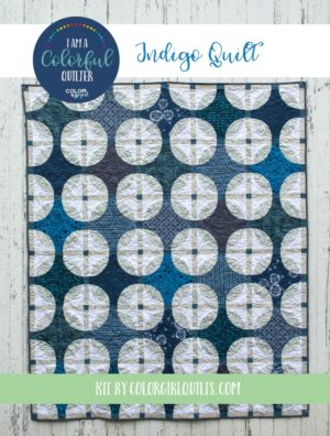 Indigo blue and white quilt kit sold by Color Girl quilts