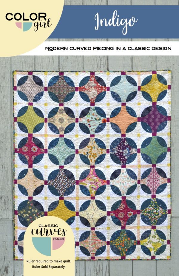 Indigo quilt pattern using the Classic Curves Ruler by Sharon McConnell Color Girl quilts