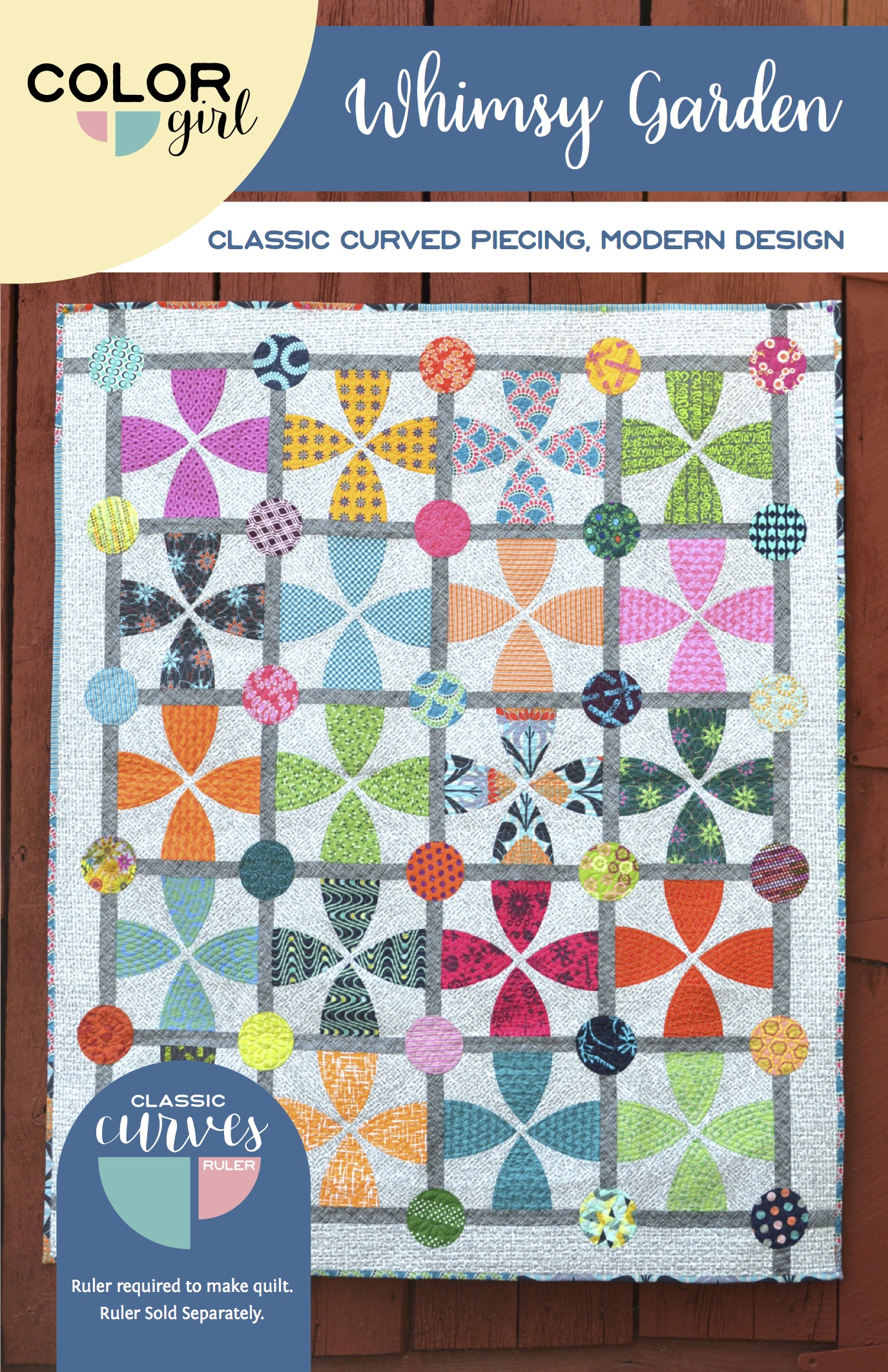 Whimsy Garden quilt pattern, modern curved piecing quilt by Color Girl Quilts