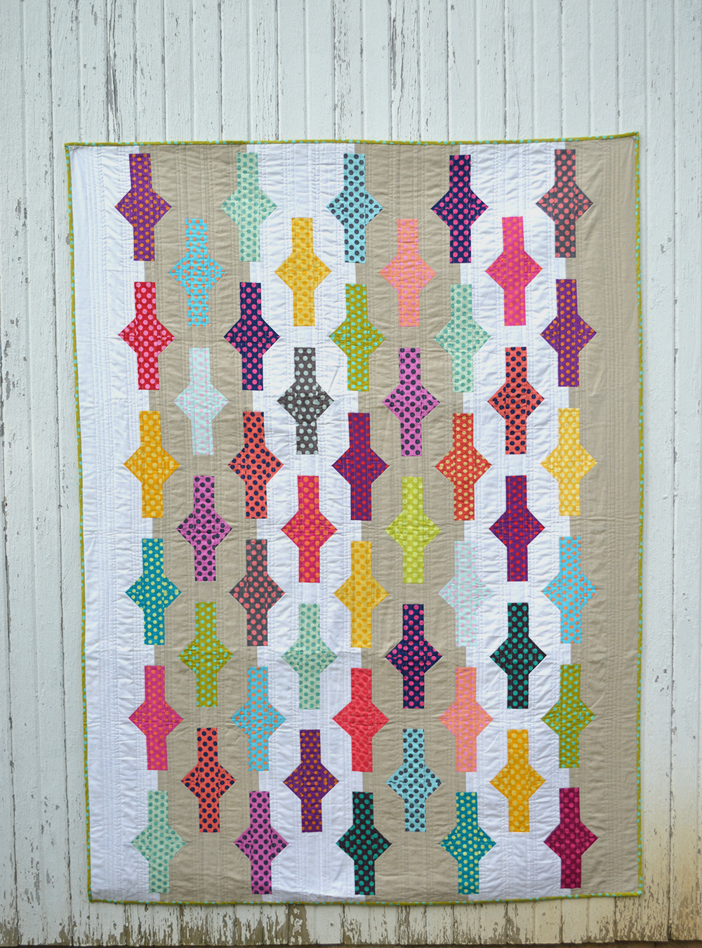 Batons quilt, handmade, unique quilt for sale by Color Girl Quilts
