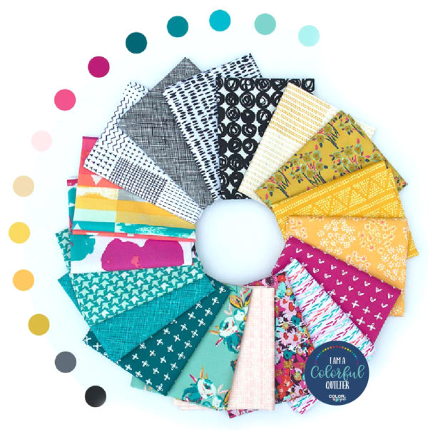 Modern quilt fabric bundle in primary colors, CMYK print colors custom fabric collection by Color Girl Quilts