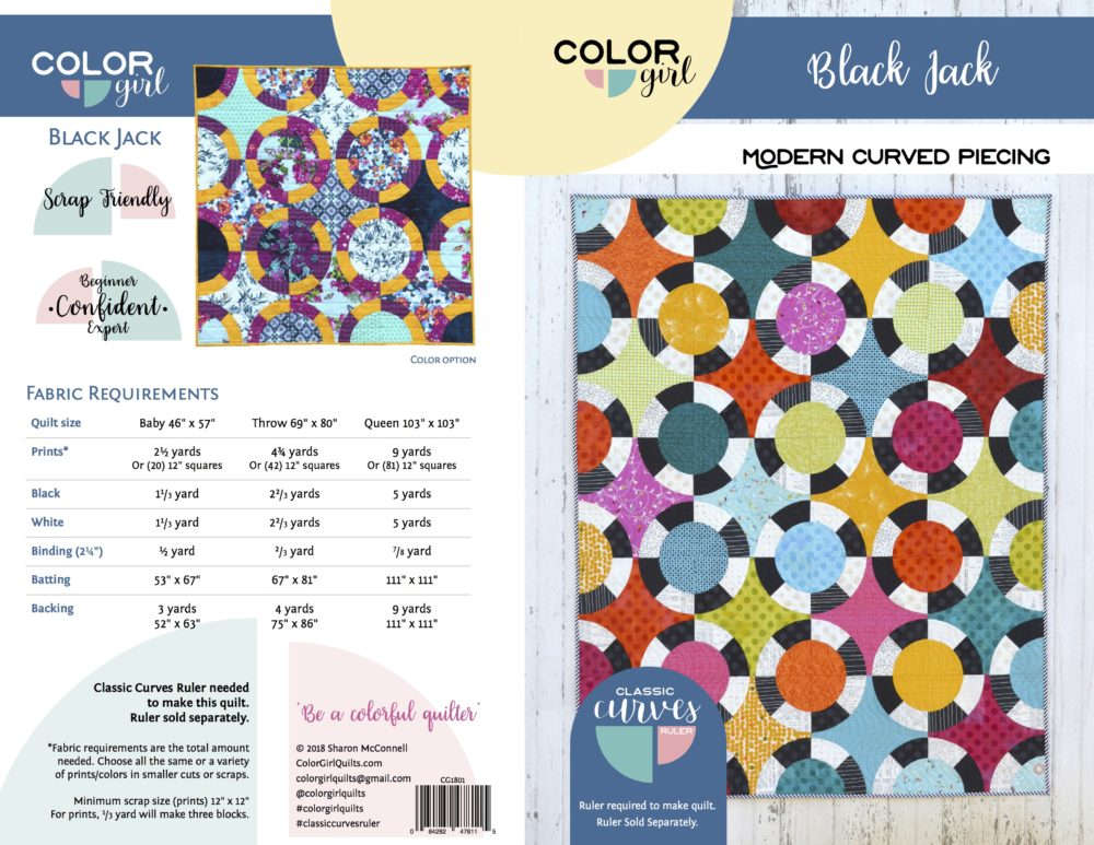 Black Jack quilt pattern by Color Girl Quilts using the classic Curves Ruler