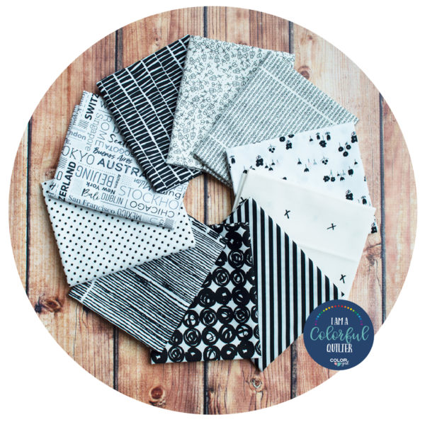 Black and white print fabric bundle sold by Color girl Quilts