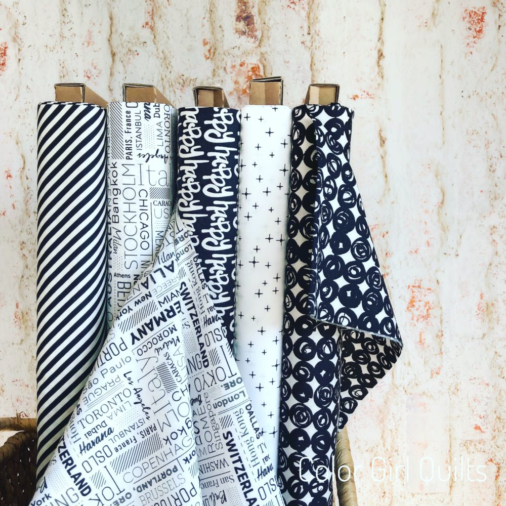 Black and white fabrics by Art Gallery fabrics, sold by Color Girl Quilts