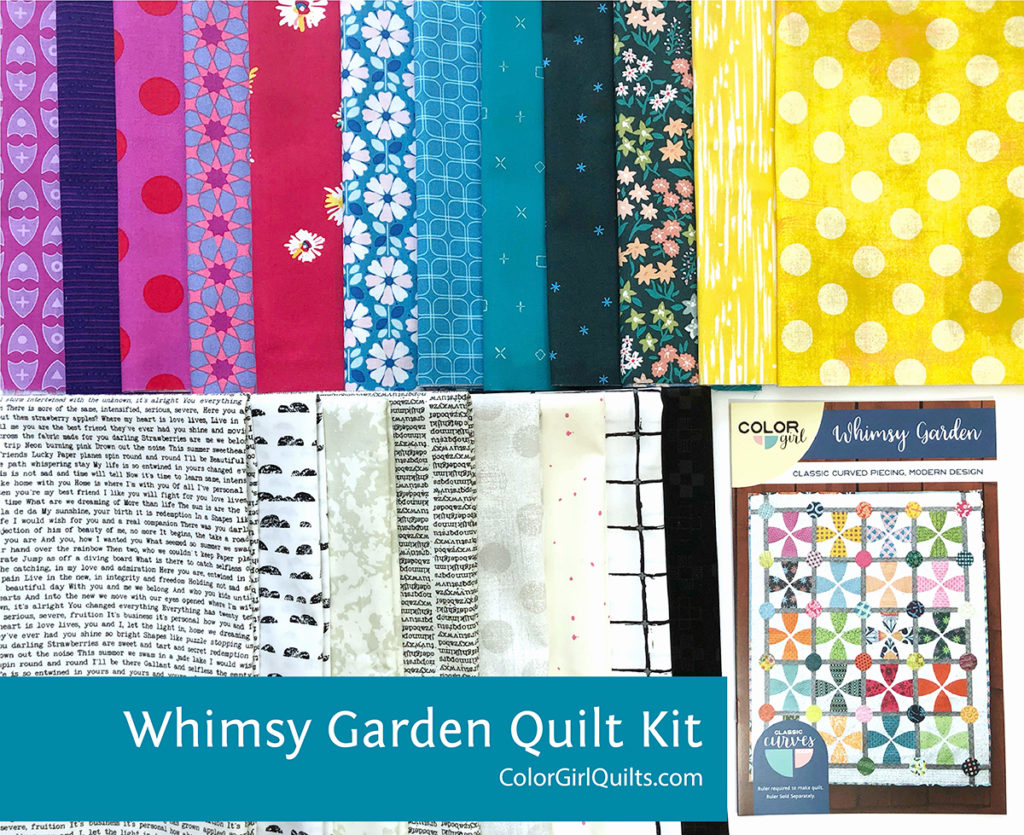 Whimsy Garden Quilt pattern fabric kit sold by Color Girl Quilts