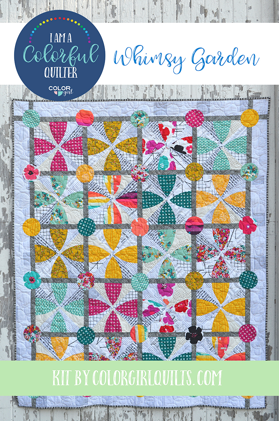 Whimsy Garden quilt pattern kit with fabric sold by Color Girl Quilts