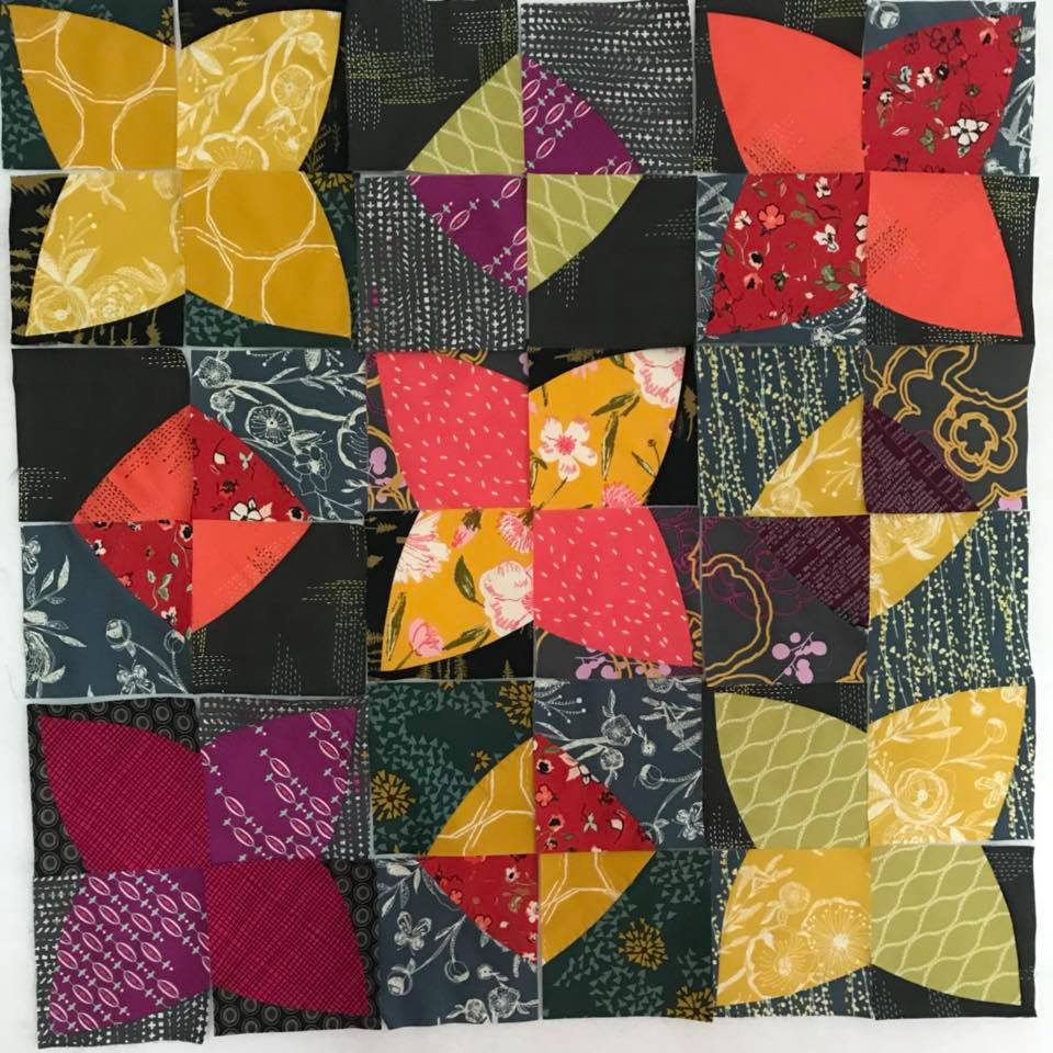 PomPom quilt with scraps of Art Gallery Fabrics. pattern by Color girl Quilts