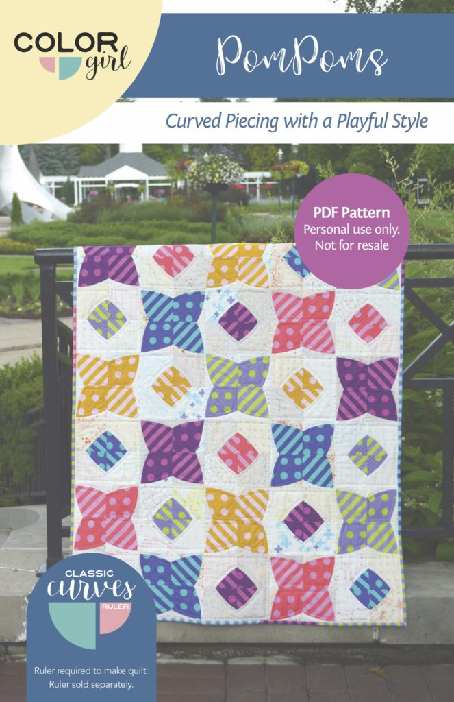 PomPoms quilt pattern for the Classic Curves ruler by Color Girl quilts, easy curved piecing quilt