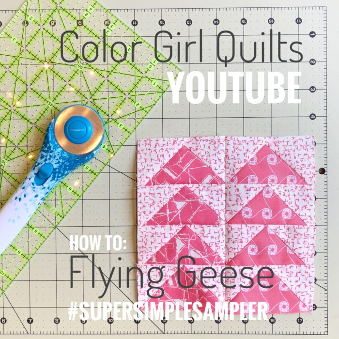 How to sew flying geese units for quilts, video tutorial by Color Girl Quilts