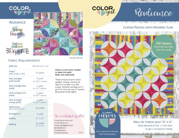 Radiance Quilt by Color Girl Quilts for the Classic Curves Ruler