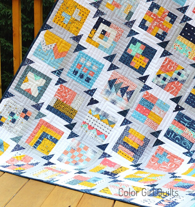 simple sampler quilt, free pattern by Color Girl quilts