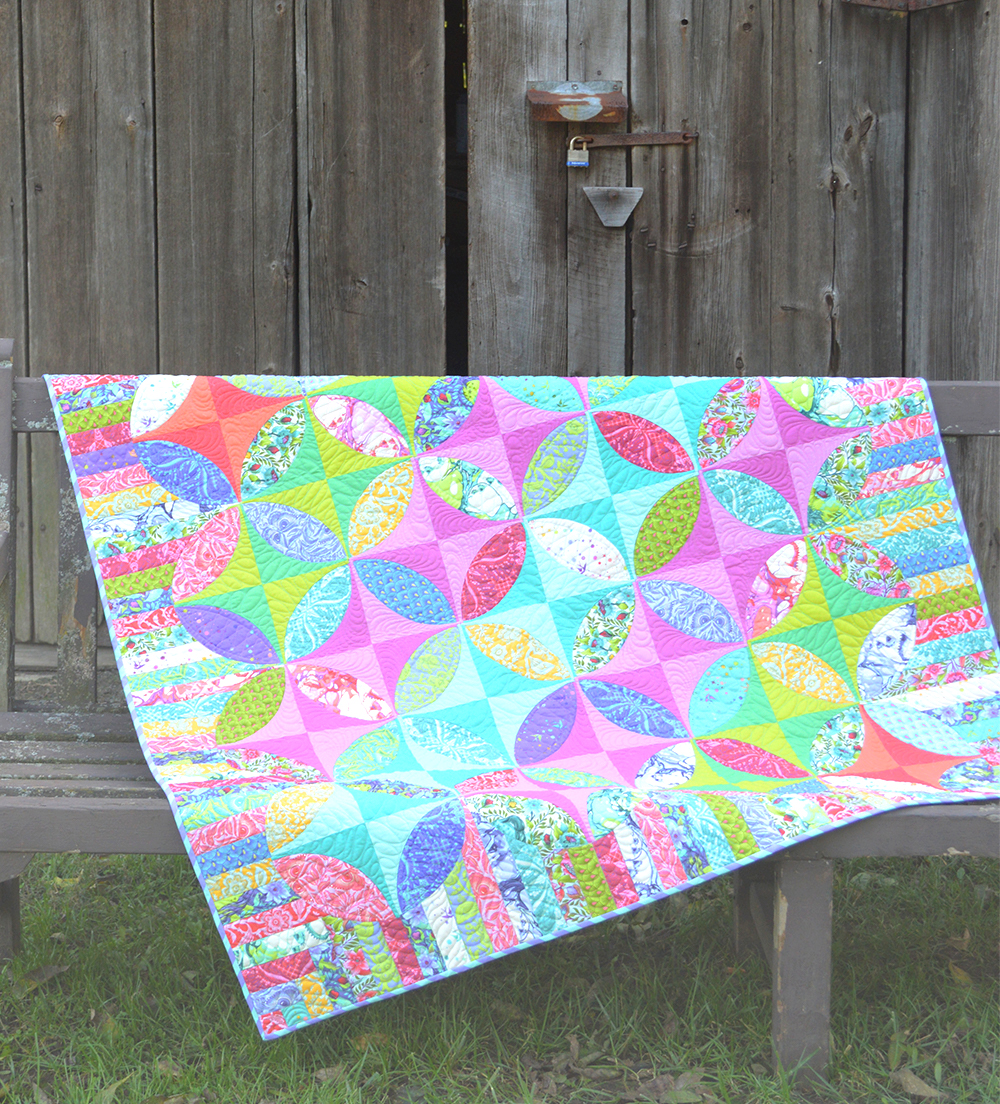 Radiance quilt pattern made in Tula Pink Pinkerville fabric, by Color Girl Quilts