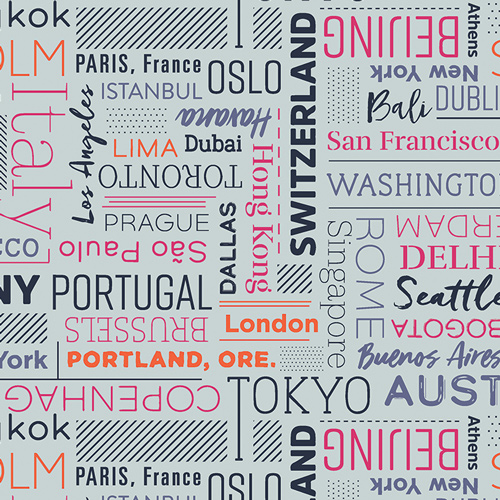 City names text print by Art Gallery Fabrics sold by Color Girl Quilts