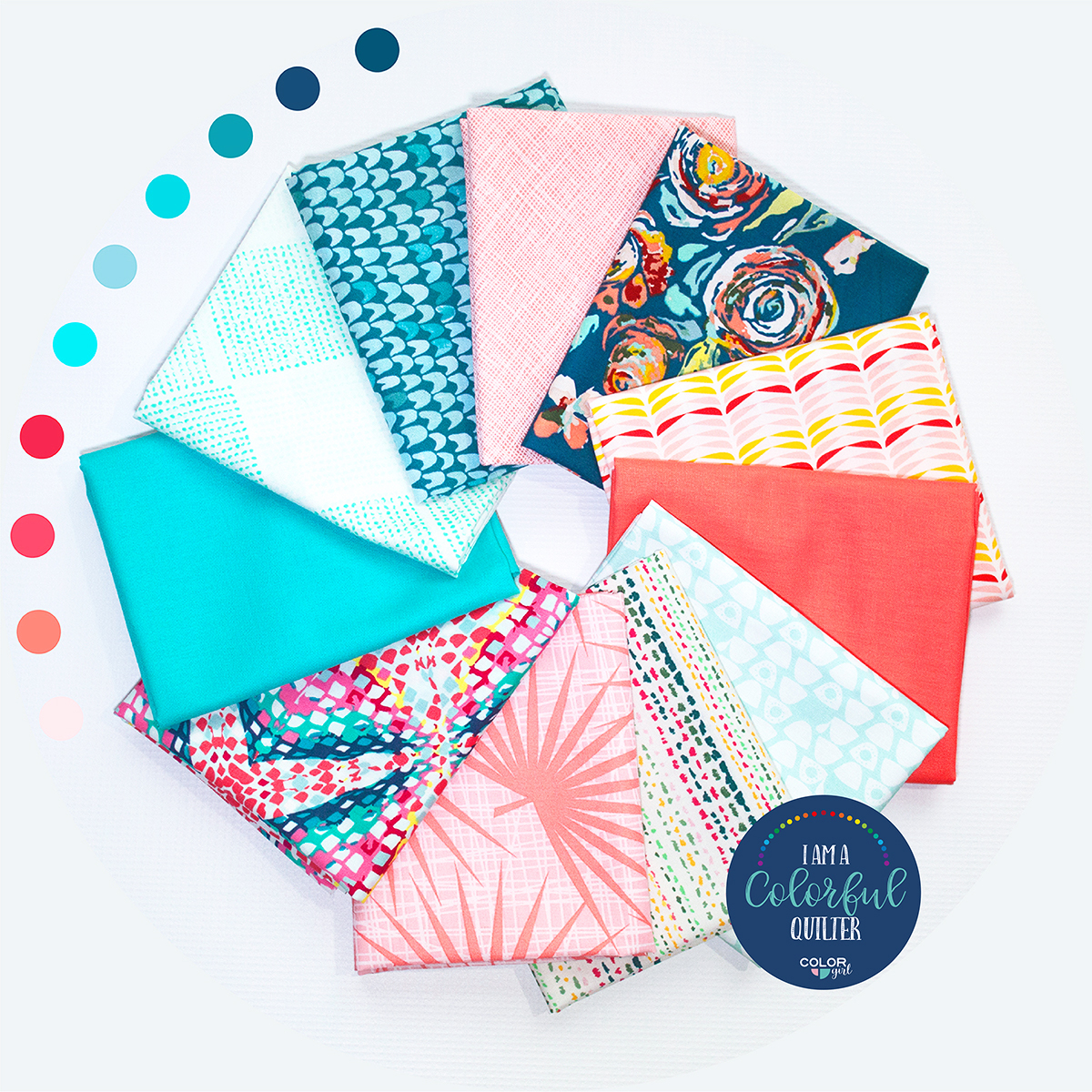 coral reef colors fabric bundle sold by Color Girl Quilts