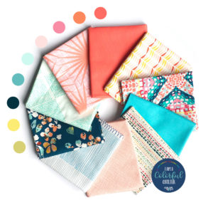Coral reef colors fabric fat quarter bundle sold by Color Girl Quilts