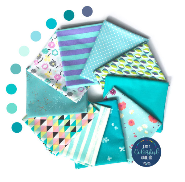 Aqua color fabric bundle sold by Color Girl Quilts
