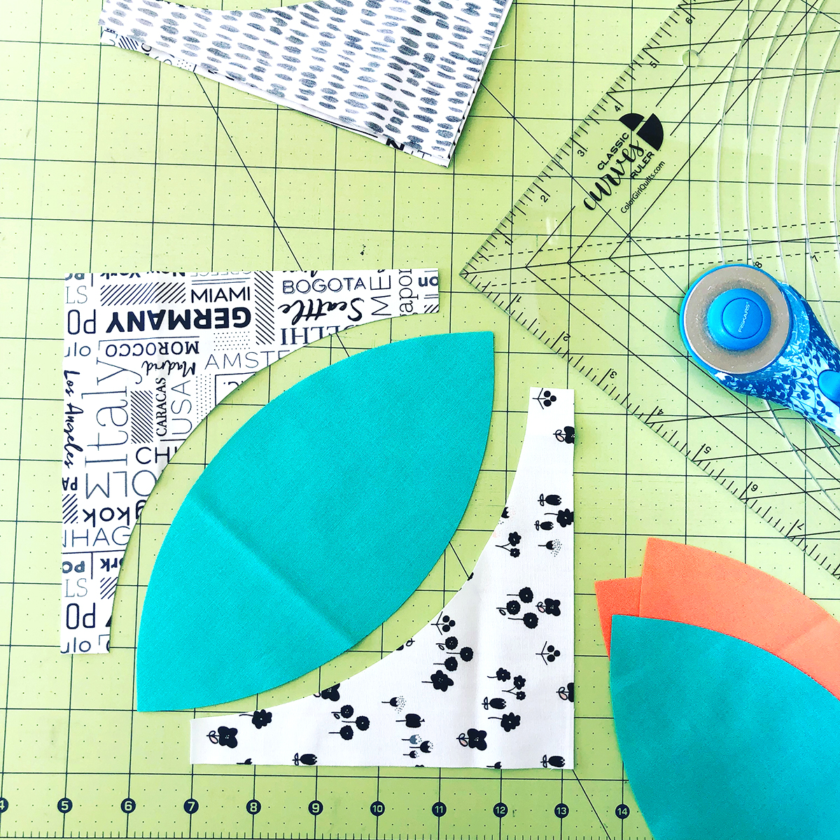 Classic Curves Ruler making Orange Peel quilt block by Color Girl quilts