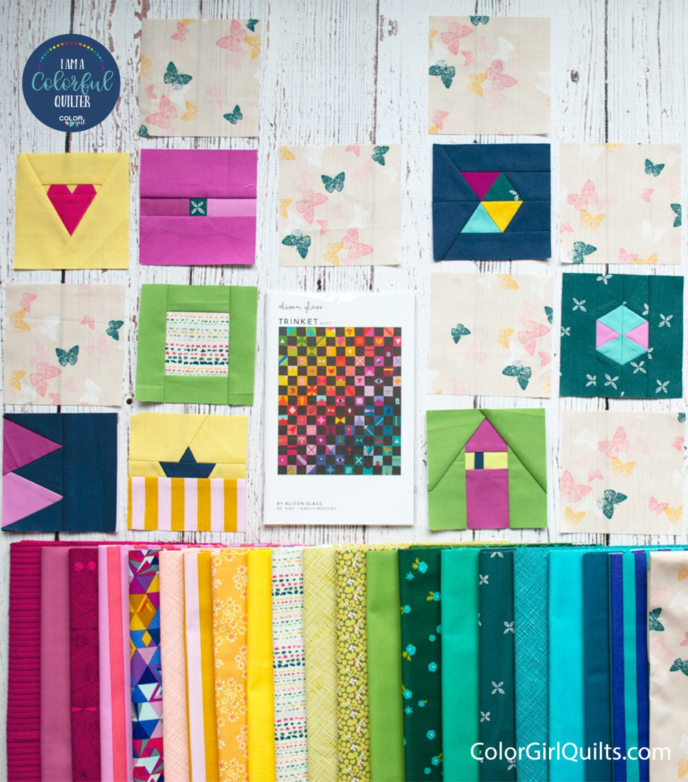 Trinket quilt pattern and fabric kit sold by Color Girl Quilts