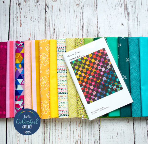 trinket quilt kit fabrics for sampler quilt pattern by Alison Glass sold by Color Girl Quilts