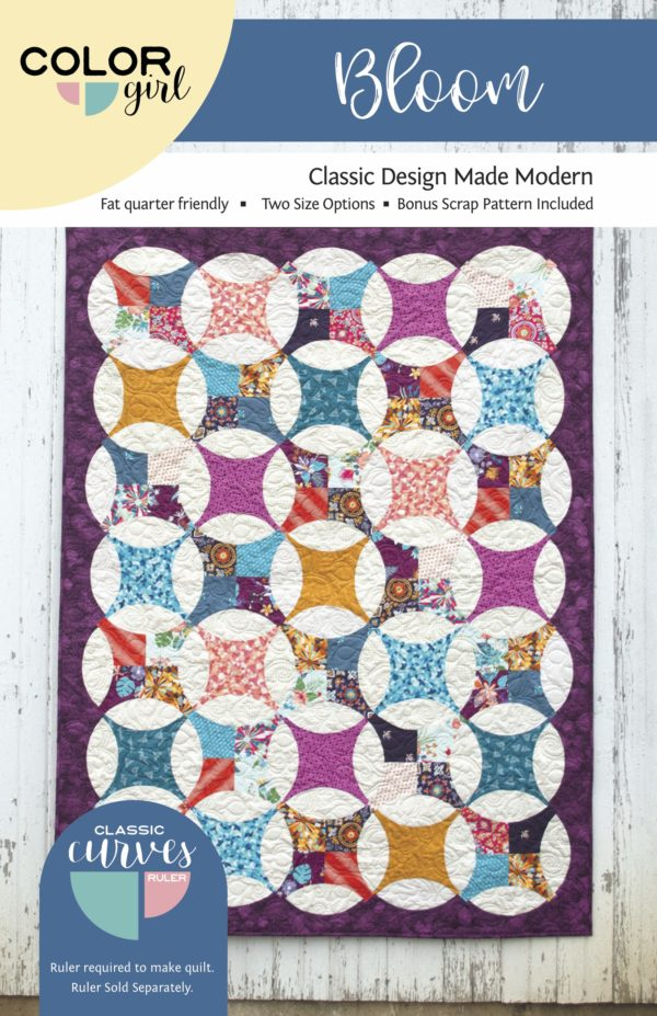 Bloom quilt pattern for the Classic Curves Ruler by Color Girl Quilts