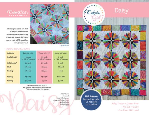 daisy Dresden plate quilt by color girl quilts