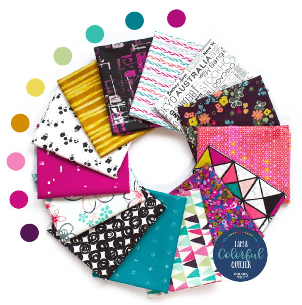 Sew colorful curated Edgy fabric bundle sold by Color Girl Quilts