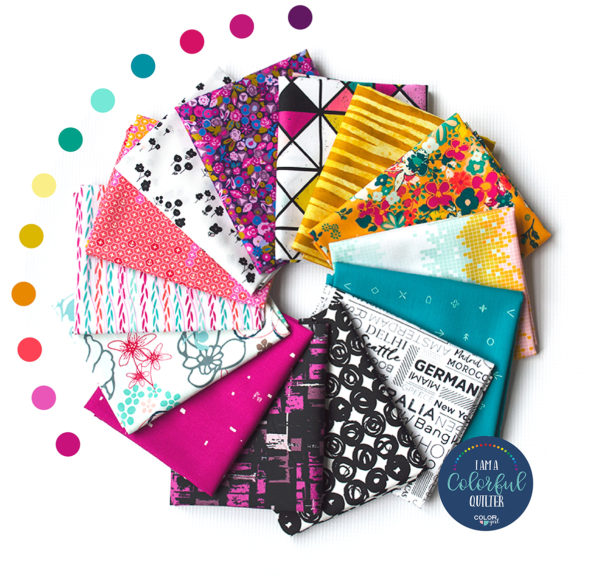 Colorful fat quarter bundle for quilters sold by Color Girl Quilts