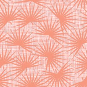 Palm fabric in living coral by violet craft sold by Color Girl Quilts