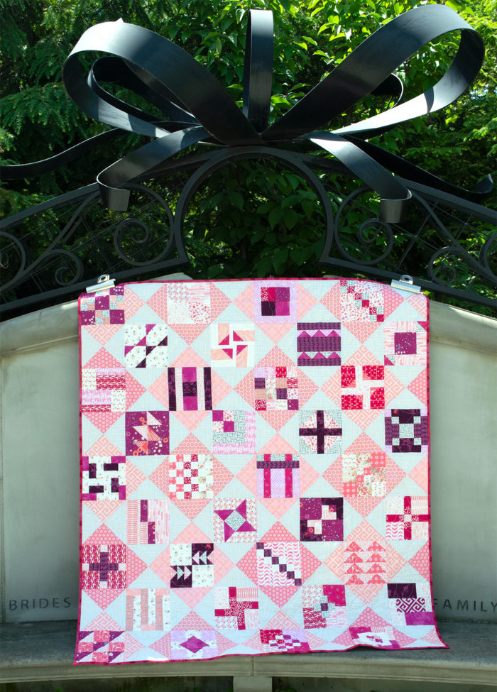 Pink and white simple sampler free quilt pattern by Color Girl Quilts