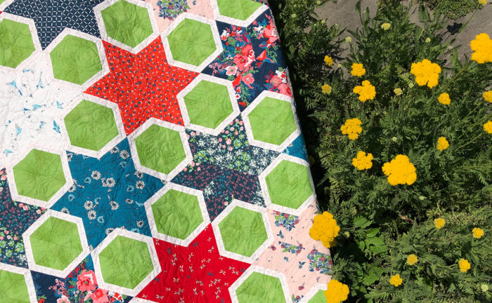 Magic Star hexagon Quilt with Everlasting Fabric by Color Girl Quilts