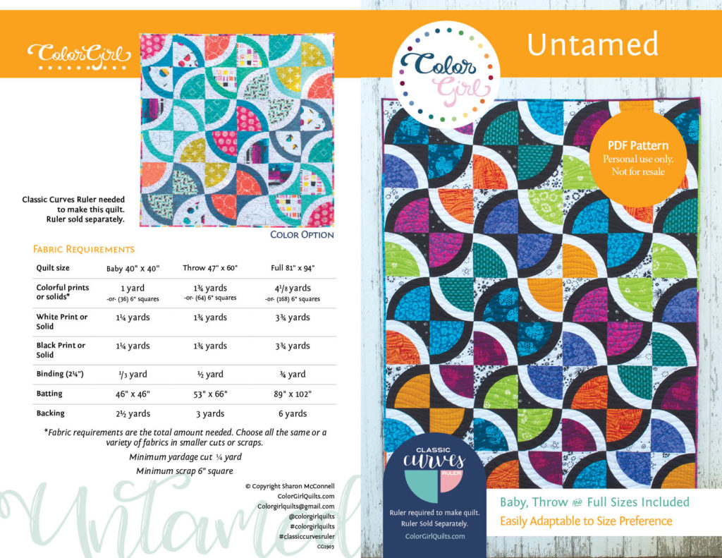 untamed quilt for classic curves ruler by Color Girl Quilts
