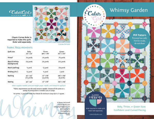 Whimsy Garden quilt pattern by color girl quilts