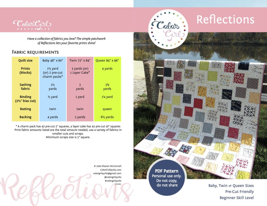 Reflections quilt pattern by Color Girl Quilts