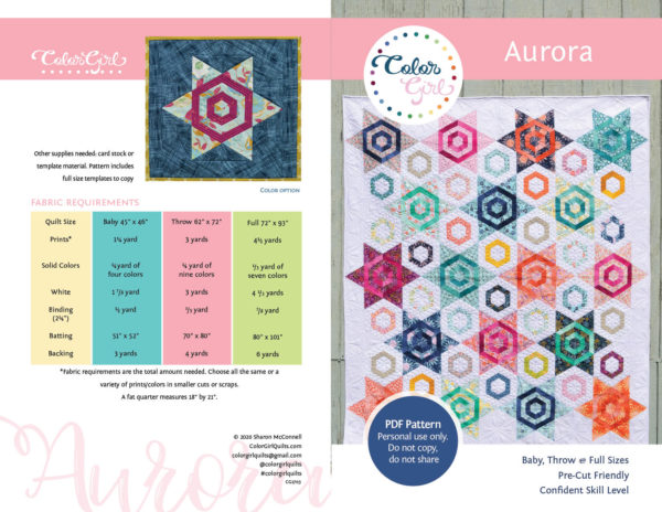 Aurora quilt pattern hexagon start quilt by color girl quilts.