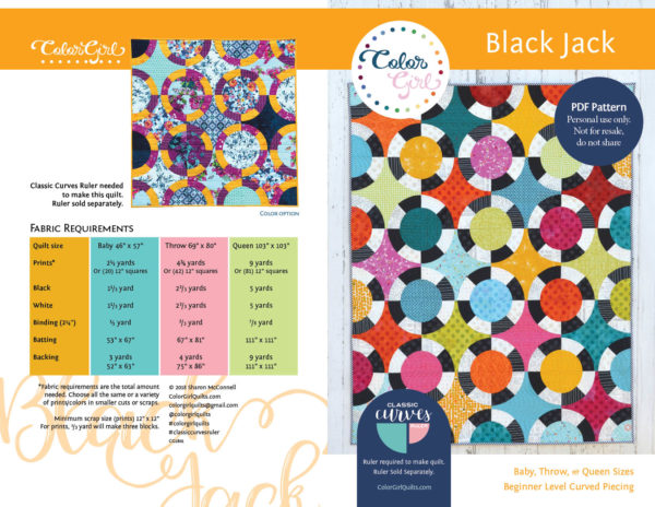 Black Jack quilt pattern modern curved piecing quilt by color girl Quilts