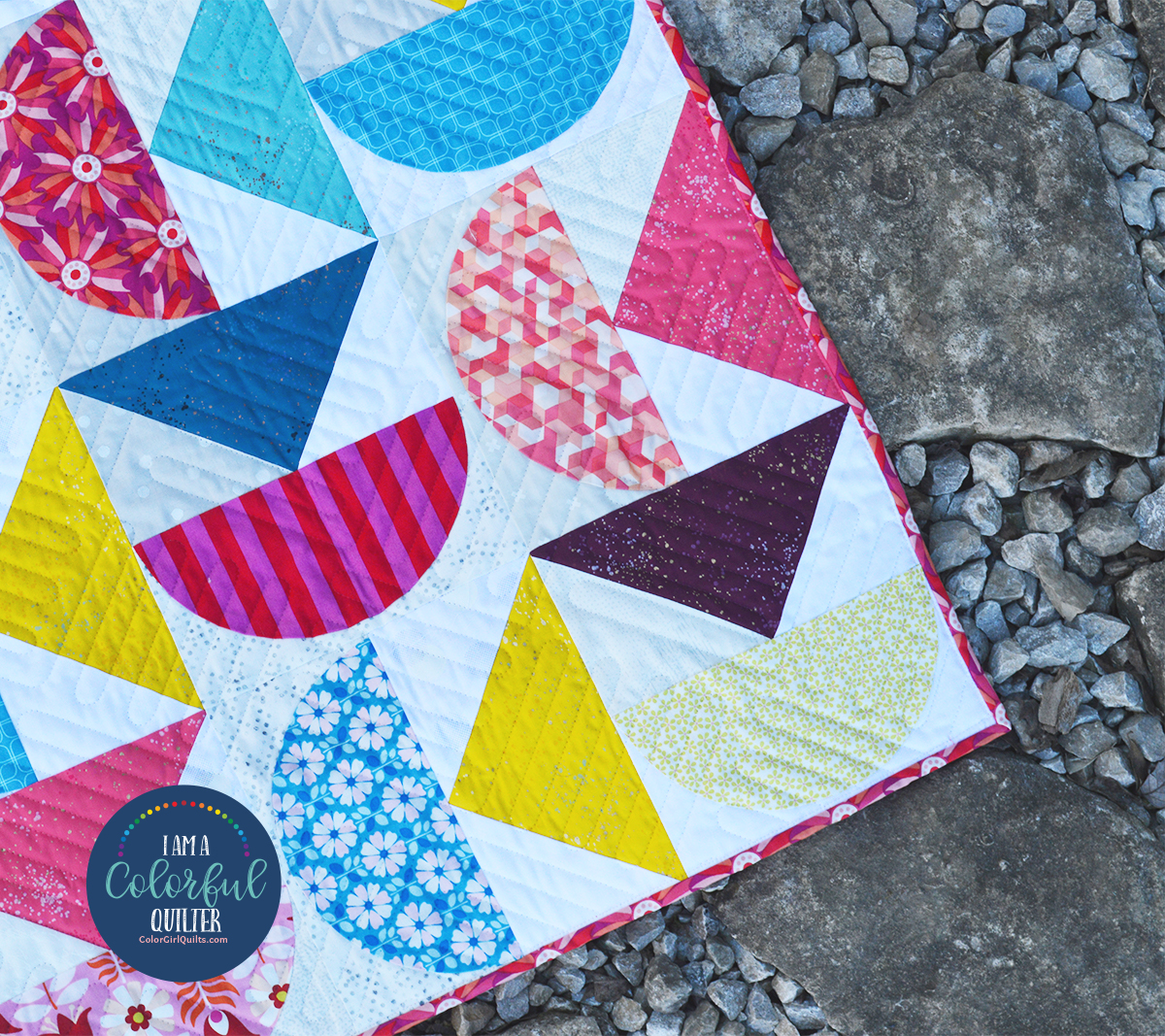 Mod shapes quilt, free quilt pattern tutorial by Color Girl quilts