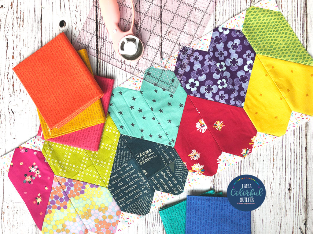 How to sew row of heart quilt block by Color Girl Quilts