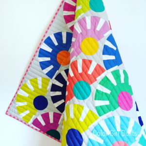 Sunbeam quilt with Tula Pink solids fabrics by Color Girl Quilts