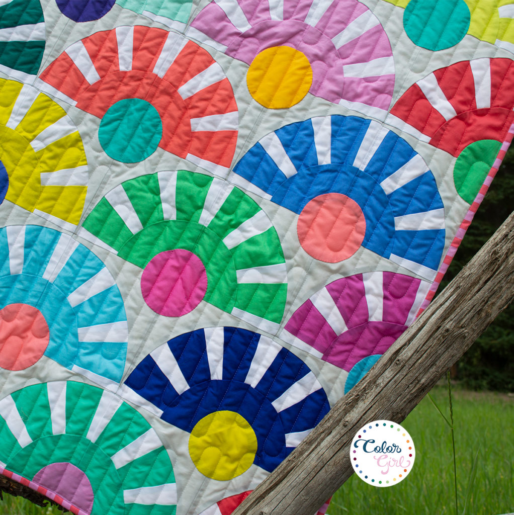 Sunbeam quilt pattern by Color Girl Quilts using paper piecing and curved piecing