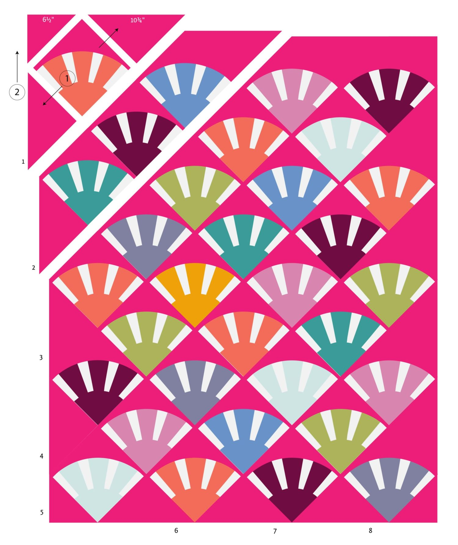 Sunbeam quilt pattern layout variation by Color Girl Quilts